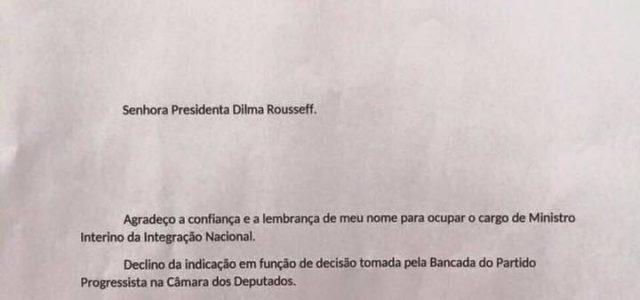 Ministro Miojo pede demissão do Min. da Integração